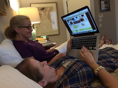 Ellen and Valerie crawled in bed with me to navigate Instacart.