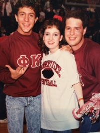 Lance and Steven Cole in their fraternity letters at a pep rally.
