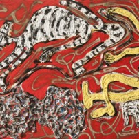 Thornton Dial, Tiger on the Run, 1992. Oil paint, spray paint, rope, and rubber on canvas