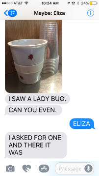 Eliza's text from Germany.